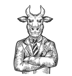 bull businessman engraving vector image