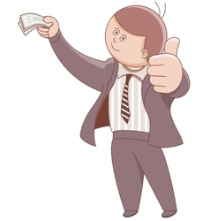 Businessman holding money and showing ok vector image