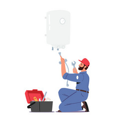 Call master in robe with toolbox install boiler vector