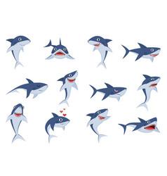 cartoon cute sharks underwater characters vector image