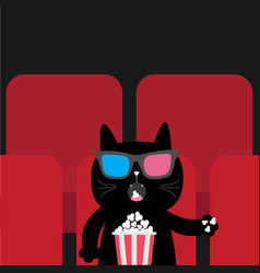 cat eating popcorn in movie theater cute cartoon vector image