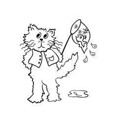 cats looking for fish outlined cartoon drawing vector image