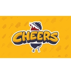 Cheers lettering logo sketch vector image