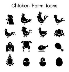 chicken icon set vector image