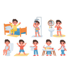 Child morning daily routine with cute cartoon boy vector