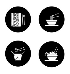 chinese food glyph icons set vector image