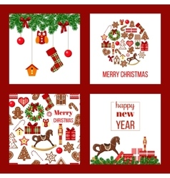 Christmas set xmas theme in boarded squares with vector