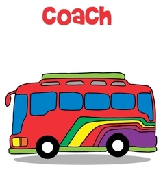 Coach bus cartoon art vector image