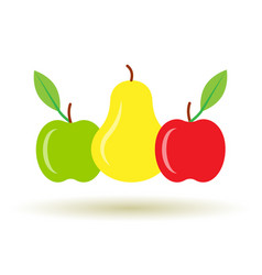 Colorful pear and apple icon with shadow vector