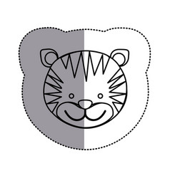 Contour face tiger icon vector