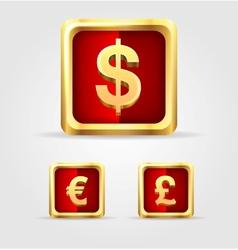 Currency gold icon set vector