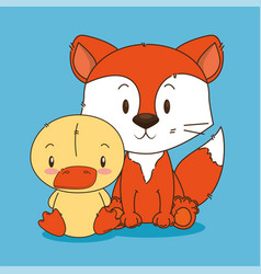 Cute little fox and duck characters vector