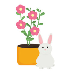 cute little rabbit with house plant vector image