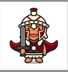 Cute roman knight character holding sword cartoon vector