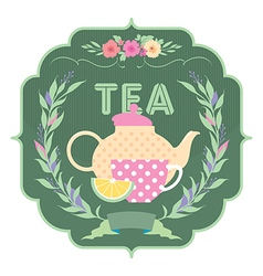 Decorative banner kettle and a cup of tea vector