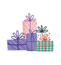 decorative gift boxes surprise ornament icon vector image