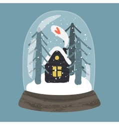 Decorative of handdrawn snow globe vector