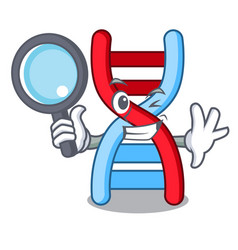 Detective dna molecule character cartoon vector