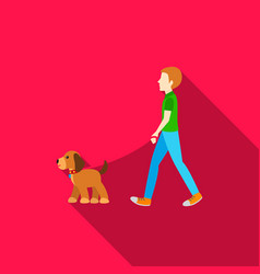 dog walk icon in flat style for web vector image