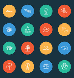 ecology icons line style set with bucket of fruit vector image
