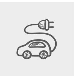 Electric car sketch icon vector