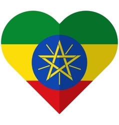 Ethiopia flat heart flag vector