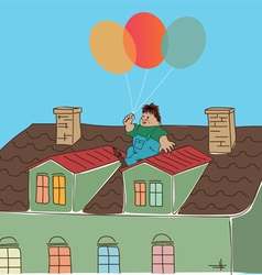 Fabulous man on roof vector