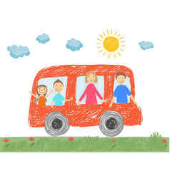 family in car father mother parents kids going to vector image
