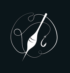fishing hook with float vector image