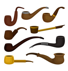 flat set of different types of tobacco vector image