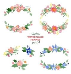 Floral watercolor wreaths frames bouquets vector image