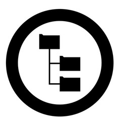 Folder structure black icon in circle vector