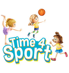 font design for word time for sport with girls vector image