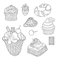 Food sweets and cakes -01 vector