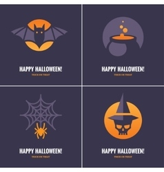Four cards with Halloween symbols vector image