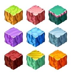 Gaming Cubes Landscape Elements Isometric Set vector