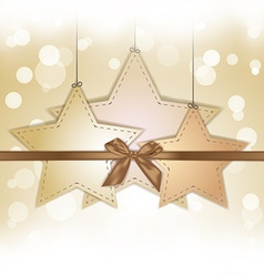 golden star gift card with copy space vector image