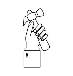 Hand holding hammer tool construction outline vector