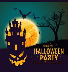 happy halloween with pumpkin haunted house vector image