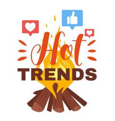 Hot internet trends flat poster template vector