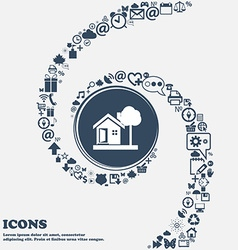 House icon in the center around the many beautiful vector