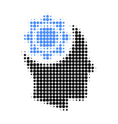 human intellect gear halftone dotted icon vector image