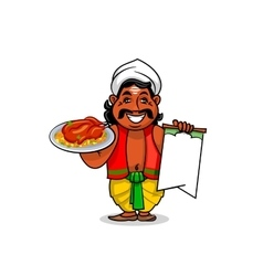 Indian cook with menu and chicken curry rice vector