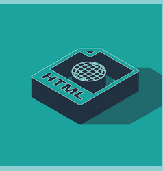 Isometric html file document download html button vector