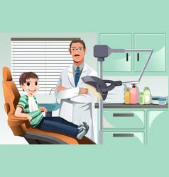 Kid in dentist office vector