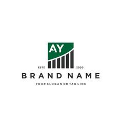 Letter ay chart financial logo design vector