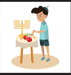 little boy in yarmulke eat apple with honey vector image
