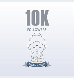 Little monk showing gratitude for 10000 followers vector