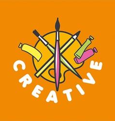 Logo brush and palette for creativity vector
