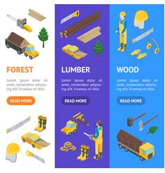 lumberman woodcutter signs 3d banner vecrtical set vector image